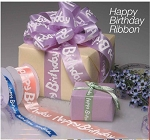 Happy Birthday or Party Printed Ribbon on Satin