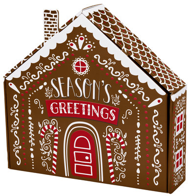 Gingerbread House Shaped Autolock Gift Boxes 6 Boxes