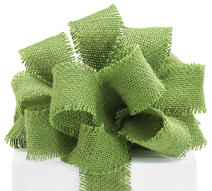 Green burlap jute ribbon with fringed edge 2 5 x 10 for Green burlap ribbon
