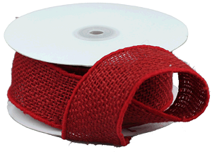 Red Wired Ribbon | Red Burlap Wired Ribbon 2 X 10 Yards 30 Feet