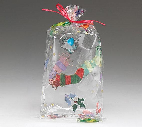 Holly jolly christmas cellophane printed bags