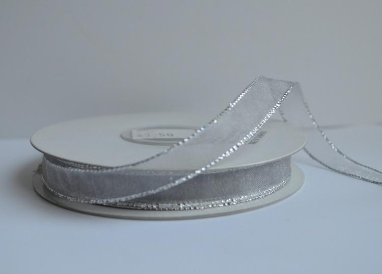 Silver Organza Ribbon with Silver Edge, 3/8 inch x 25 yards