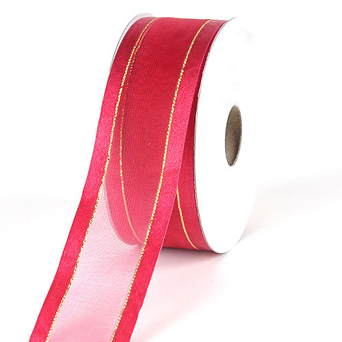 "5 Yards Gold Edge Fushia Pink Satin Wired Ribbon 7//8/""W"