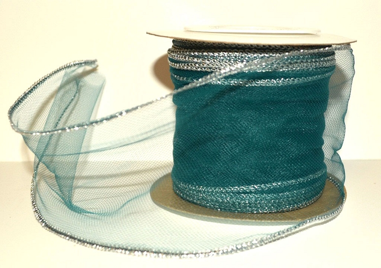 Teal Wired Tulle with Silver Edge (3\