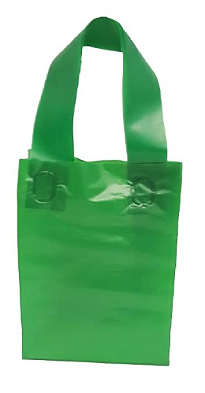 "Green Colored Frosted Shopper Bags (8"" x 5"" x 10"")"