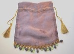 Lavender Metallic Beaded Bag with Tassels, 7.5