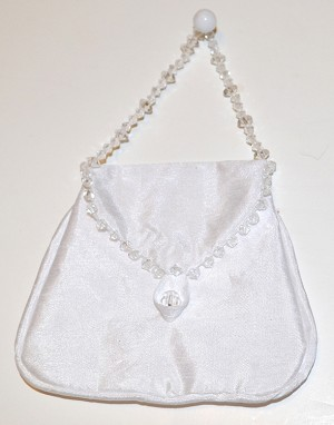 "White Satin Beaded Pouch (4"" x 3.5""), 3 pouches"