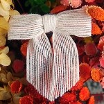 Jute Pre-Tied Bow, Bleached White, 3 in. x 2.25 in. tail (7/8