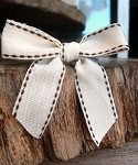 Canvas with Brown Stitching Pre-Tied Bow, 3 in. x 2.25 in. tail (3/4