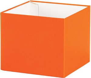 "Orange Deluxe Gift Box, Shallow Medium (6"" x 6"" x 2-1/8""), 25 Boxes with Solid Lids"