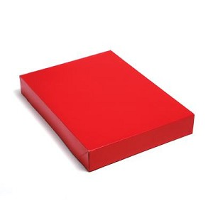 "Red Apparel Boxes (Coats, robes, suits, 24"" x 14"" x 4""), 50 boxes"