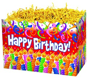 "Birthday Candles Basket Boxes (Large, 10.25"" x 6"" x 7.5"")"
