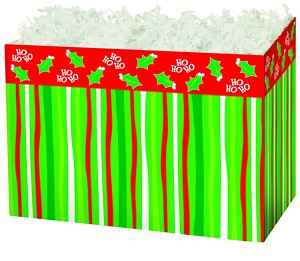 "Ho Ho Stripes Basket Boxes (Large, 10.25"" x 6"" x 7.5"")"