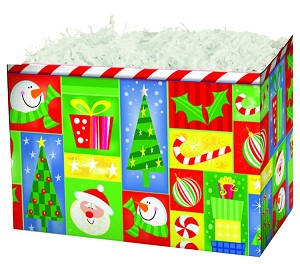 "Holiday Squares Basket Boxes (Large, 10.25"" x 6"" x 7.5"")"