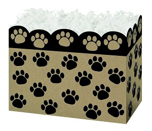 "Paw Print Basket (Natural) Boxes (Small, 7"" x 4"" x 5"")"