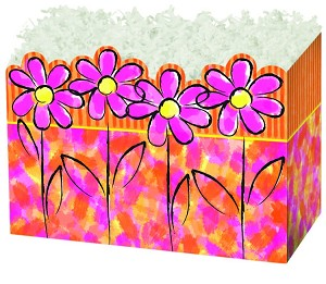 "Painted Daisy Basket Boxes (Small, 7"" x 4"" x 5"")"