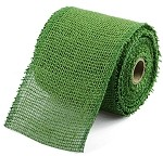 Green Burlap Jute Ribbon with a Finished Edge, 4