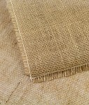 Natural Burlap Table Cover with Fringed Edge