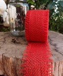 Red Burlap Jute Ribbon with Fringed Edge, 2.5