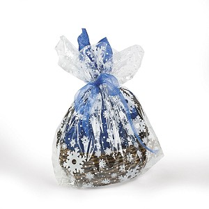 "Snowflakes Printed Cellophane Basket Bags (10"" x 15"")"