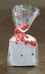 Hearts-Red Cellophane Printed Bags, 100 bags