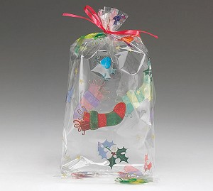 Holly Jolly Christmas Cellophane Printed Bags, 100 bags