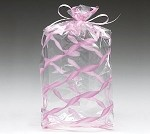 Pink Twisted Ribbon Cellophane Printed Bags, Small (3.5 x 2 x 7.5), 100 bags
