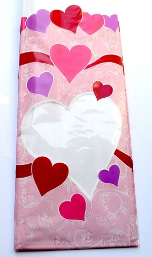 Peek-a-Boo Hearts Printed Bags, Medium (4 x 2.5 x 9.5), 100 bags **CLOSEOUT**