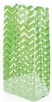 Chevron-Green Cellophane Printed Bags, 100 bags