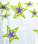 Superstar - Purple & Lime Cellophane Printed Bags, (5 x 3 x 11.5), 100 bags