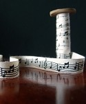 Music Notes, Black Print On 100% Cotton, 5/8 in x 10yd