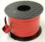 Red Metallic Crimped Ribbon, 3/16