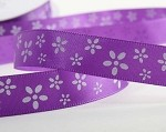 Purple Flowers on Satin Ribbon, 5/8