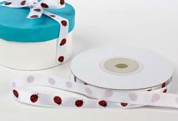 "Ladybugs Satin Ribbon, 3/8"" x 25 yards"