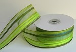 Green/Blue/Clear Stripe Sheer Ribbon, 25 yards