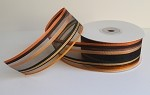 Orange/Black Stripe Sheer Ribbon, 25 yards