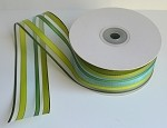 Green/Mint/Hunter Green Stripe Sheer Ribbon, 1.5