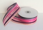 Navy/Hot Pink/Blue/Gold Stripe Sheer Ribbon, 25 yards