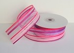 Pink/Hot Pink/Purple Stripe Sheer Ribbon, 1.5