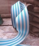 Light Blue & Ivory Striped Woven Ribbon
