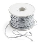 SIlver Metallic (non-wired) ribbon, 1/8in x 50yds