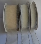 Ivory Organza Ribbon with Silver Edge, 25 yards