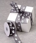 Black Sheer Paw Print Ribbon, 25 yards