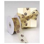 Chocolate Sheer Paw Print Ribbon, 25 yards