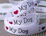 I Love My Dog Satin Ribbon, 5/8