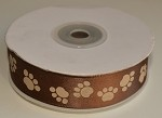 Paw Print (Brown/Tan) Satin Ribbon, 25 yards