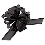 Black Organza Pull Bow with Satin Edge, 12 individually packed bows