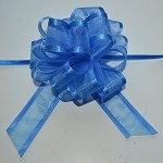 Royal Blue Organza Pull Bow with Satin Edge, 12 individually packed bows