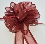 Burgundy Organza Pull Bow with Satin Edge, 12 individually packed bows