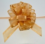 Gold Organza Pull Bow with Satin Edge, 12 individually packed bows